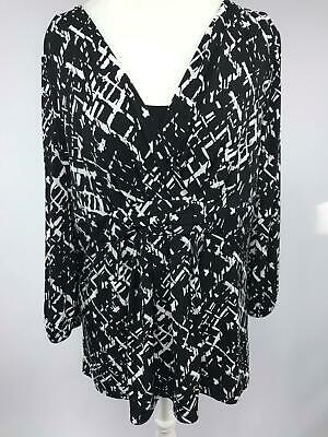 Style & Co Shirt Womens Black White Size Large 3/4 Sleeve V neck Gathered Waist
