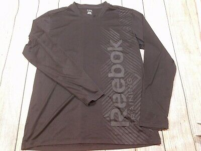 Reebok Play Dry Training Mens Long Sleeve Black Polyester Shirt Large