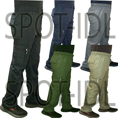 Mens Elasticated Cargo Combat Work lightweight Cotton Pants Bottoms Trousers New