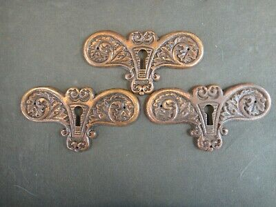 Set of 3 Antique Cast Brass Keyhole Covers - Old Door Drawer Hardware