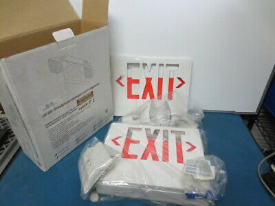 Red LED Exit Sign - NYC Emergency Incandescent Light Combination