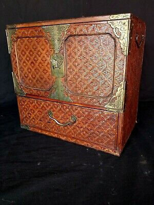 Unusual antique chinese small table jewellery cabinet