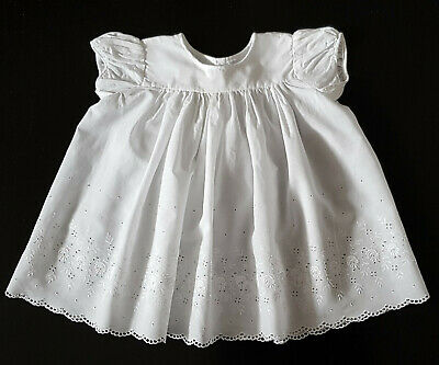WHITE BRODERIE ANGLAISE, HANDMADE, VINTAGE 1960's BABY DRESS - VERY PRETTY