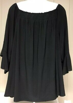 Womens Avenue Plus Size Blouse Shirt 30 32 Black Spring Fun Evening Out Casual