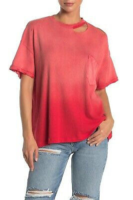 Free People Womens Large Short Sleeve Lucky Heavy Distressed Tee Tshirt Red 081
