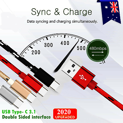 Fast Charger USB C Type-C Data Cable For Samsung S8 S9 S10 Note 10 Plus S20 S20+