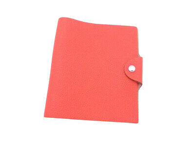 Auth HERMES Square R (2014) Ulysse Note/Agenda Cover Rouge Tomate Togo - e44268