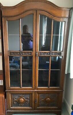 Vintage Early 20th Century Oak Glazed Bookcase With Carvings BARGAIN