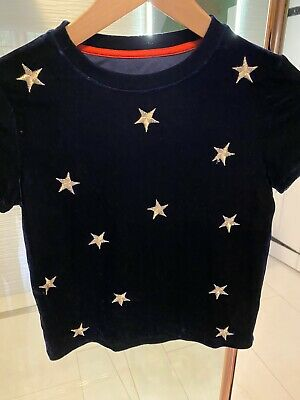 Johnnie b Boden Girls Velvet Star Top Age 9-10
