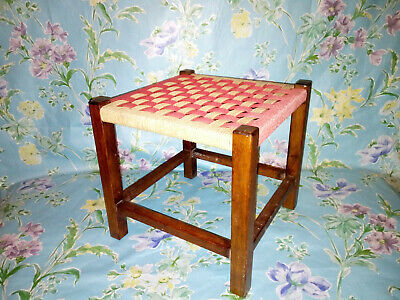 Small Vintage Woven Seagrass Stool