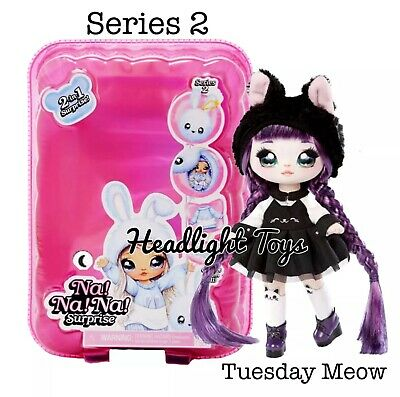 Series 2 Na Na Na Surprise TUESDAY MEOW 2 IN 1 Fashion Doll Pom Purse Confetti