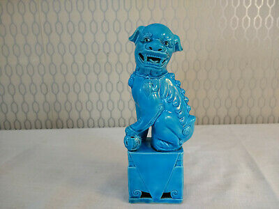 Chinese Turqoise Blue Foo Dog Guardian Lion Figurine Ornament 20cm