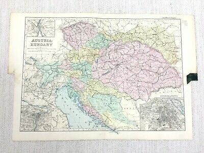 1892 Antique Map of Austria Hungary Austro Hungarian Empire Europe G W Bacon