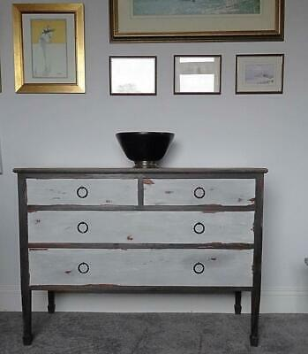 Vintage Chest of Drawers Restored/Refinished in Graphite & Grey~Clear & Dark Wax