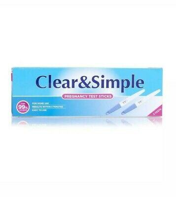 2 x Clear & Simple Pregnancy Test Fast & Easy Stick Kit 99% Accurate