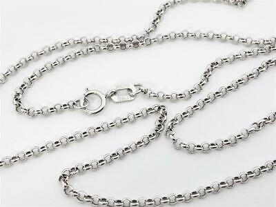 """10K 20"""" Inches 1.9mm White Gold Classic Round Rolo Necklace Pendant Chain"""