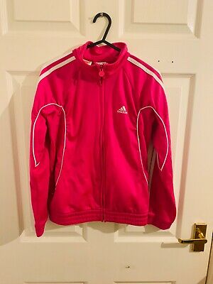 Pink & White Adidas Tracksuit Top Age 11/12 (4386)