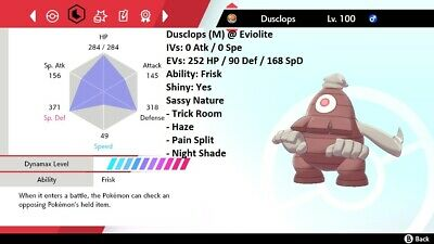 Pokemon Sword & Shield 5iv Shiny Trick Room Dusclops 🚀INSTANT DELIVERY🚀