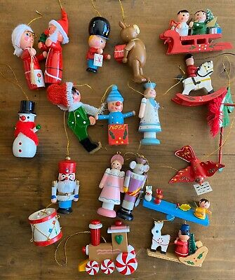 Lot Of 19 Wood Wooden Christmas Ornaments Vintage Hand Painted Small