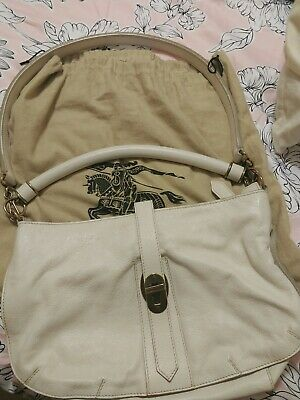Burberry Ivory White Cream Leather Sling Hobo Bag Excellent