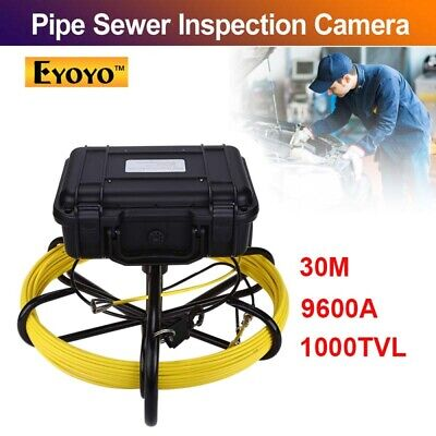 """Eyoyo 9600A 30M Under Water Drain Sewer Inspection Camera System 9"""" LCD 1000TVL"""
