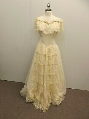 Alfred Angelo Original True Vtg 1930s Ivory Wedding Dress Gown Lace Beaded Shear