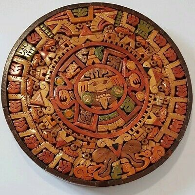 Mexican Original Detailed Hand-crafted Small-Med. Wooden Souvenir Wall Plaque