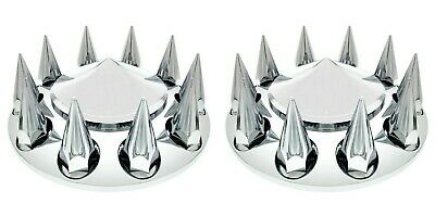 Pair Chrome ABS Semi Truck Front Wheel Hub Covers W/ Spiked Thread On 33mm Caps