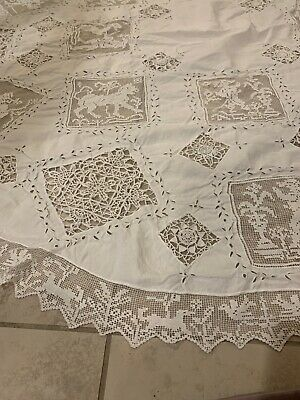 """REMARKABLE French Antique Hand Made Tablecloth Needle Lace Lion Eyelet 52"""""""