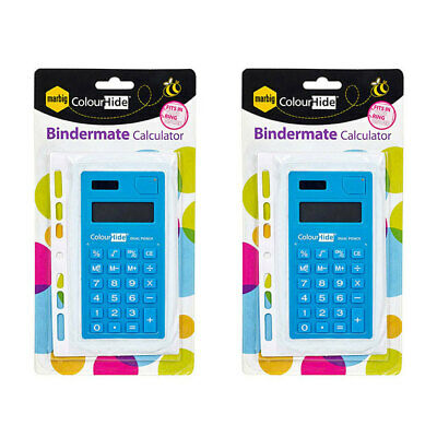 2PK Marbig Bindermate 8 Digit Solar/Battery Handheld Calculator School Office BL