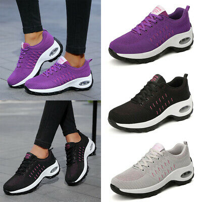 UK Womens Ladies Breathable Mesh Trainers Lace Up Sneaker Sport Gym Shoes Size