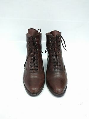 Sz 37 Vintage 90s Ladies Brown Grunge Rock soft leather laceup ankle boots