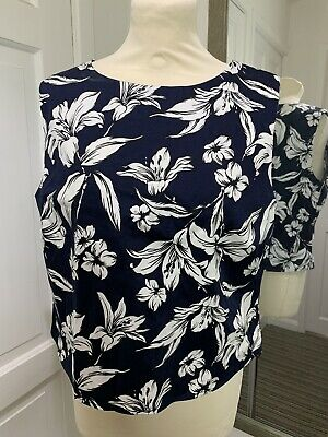 GOK TU Black White Floral Size 14 Top Sleeveless Cotton Blend Spring Summer