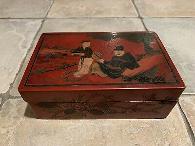 Antique Asian Chinese Jewelry Box W/Decorative Carvings.Japanese Maybe?