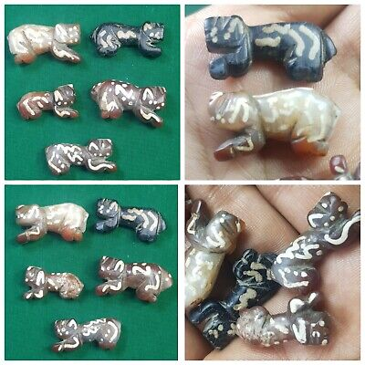 Ancient roman etched agate lion amulets five animals amulets bead