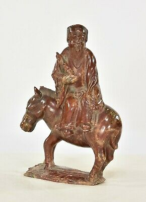 Antique Chinese Red Soapstone Statue of Scholar on Horse, Ming / Qing Dynasty