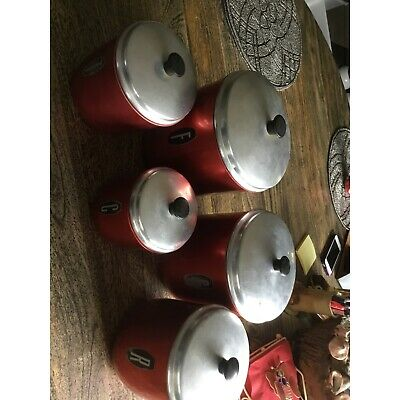 Retro red  canisters