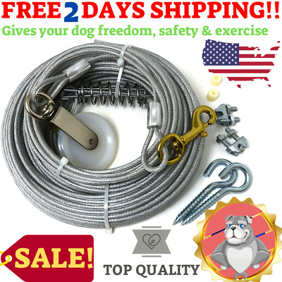 Dog Cable Trolley Exerciser Heavy Duty Pet Exercise Yard Home Runner Line 100Ft