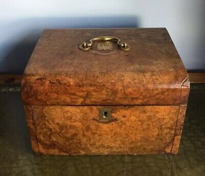 Antique 19th Century Victorian Burr And Brass Walnut Decanter Vanity Box