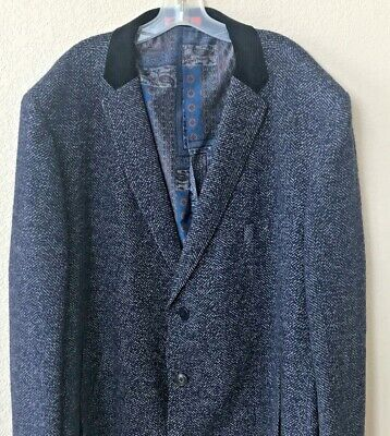 Tallia Mens Tweed Dark Blue Wool Jacket Blazer Coat 4XLT Big Tall Velvet Collar
