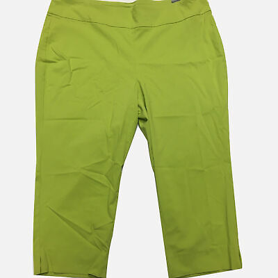 New TAGS Roz And Ali Crop Classic Fit Women's Pant 18W Capris lime green Summer