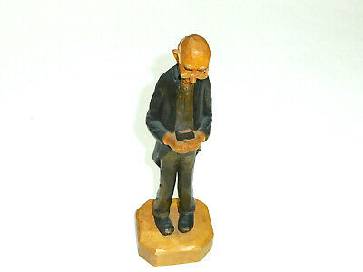 C.H. Eriksson Norway Wood Caricature Tall Man w/Glasses Holding Book CHE