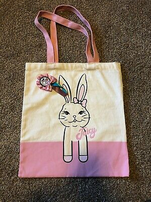 Juicy Couture Girls Canvas Tote Bag Pink Bunny