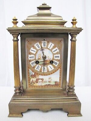 Antique French Brass and Porcelain 4 Posts Mantle Clock.