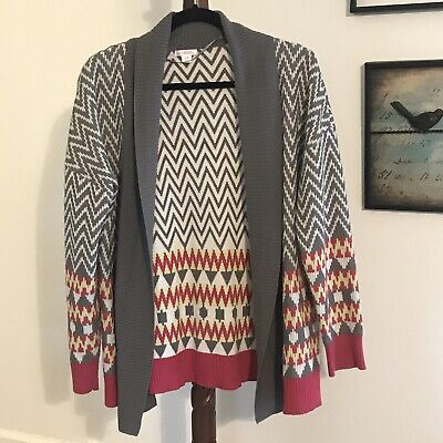 Xhilaration Women's M Gray White Pink Striped Long Sleeve Cardigan Sweater EUC