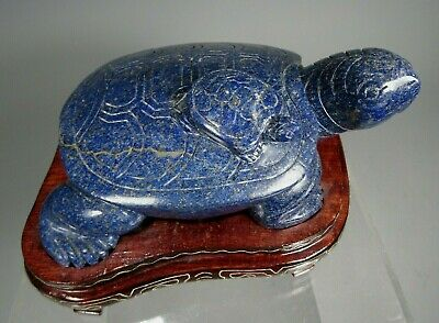 China Chinese Lapis Lazuli or Sodalite Carved Turtle & baby w/ Custom Wood Stand