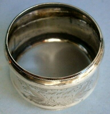 19th Century European .835 Silver Napkin Ring dated New Year 1891