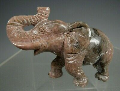 China Chinese Carved Hardstone Walking Elephant Statue Figure ca. 20th c