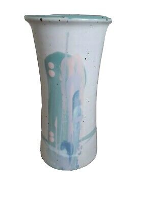 Abstract Painted Stoneware Bud Flower Vase Collectible Home Decor
