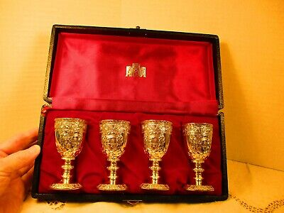 Vtg. Corbell & Co. Silver Plated Cordial Goblet Glasses Medieval Coat- of- Arms